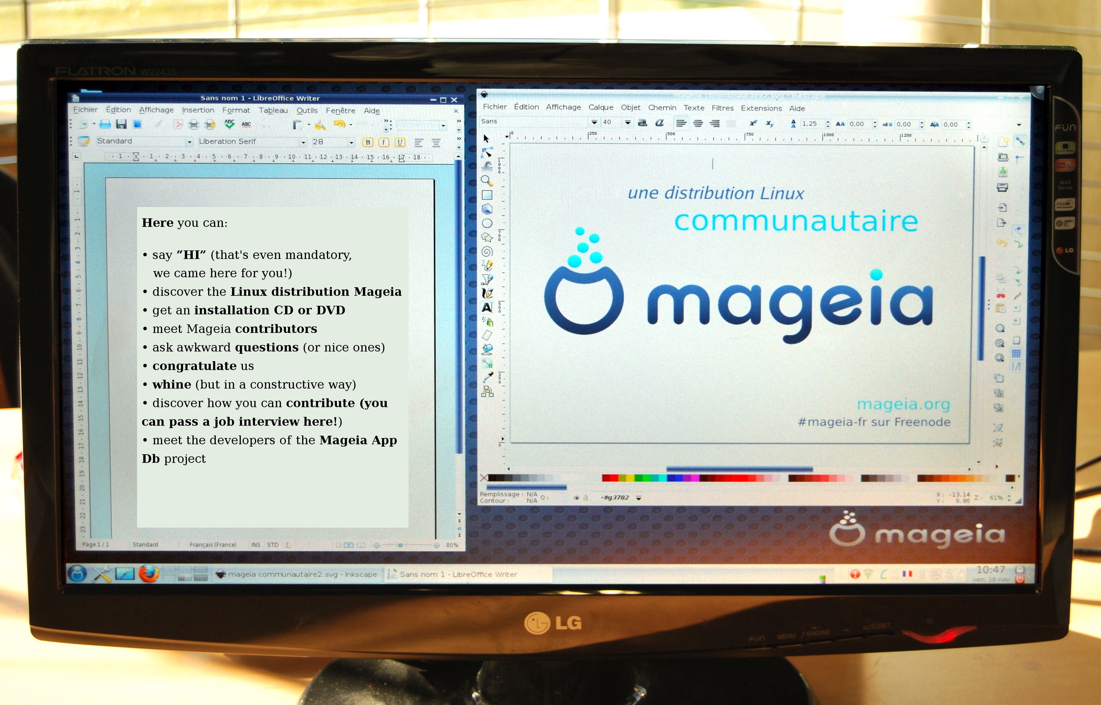 Mageia screenshot with information