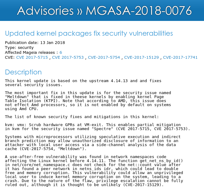 Screenshot of Advisory MGASA 2018-0076