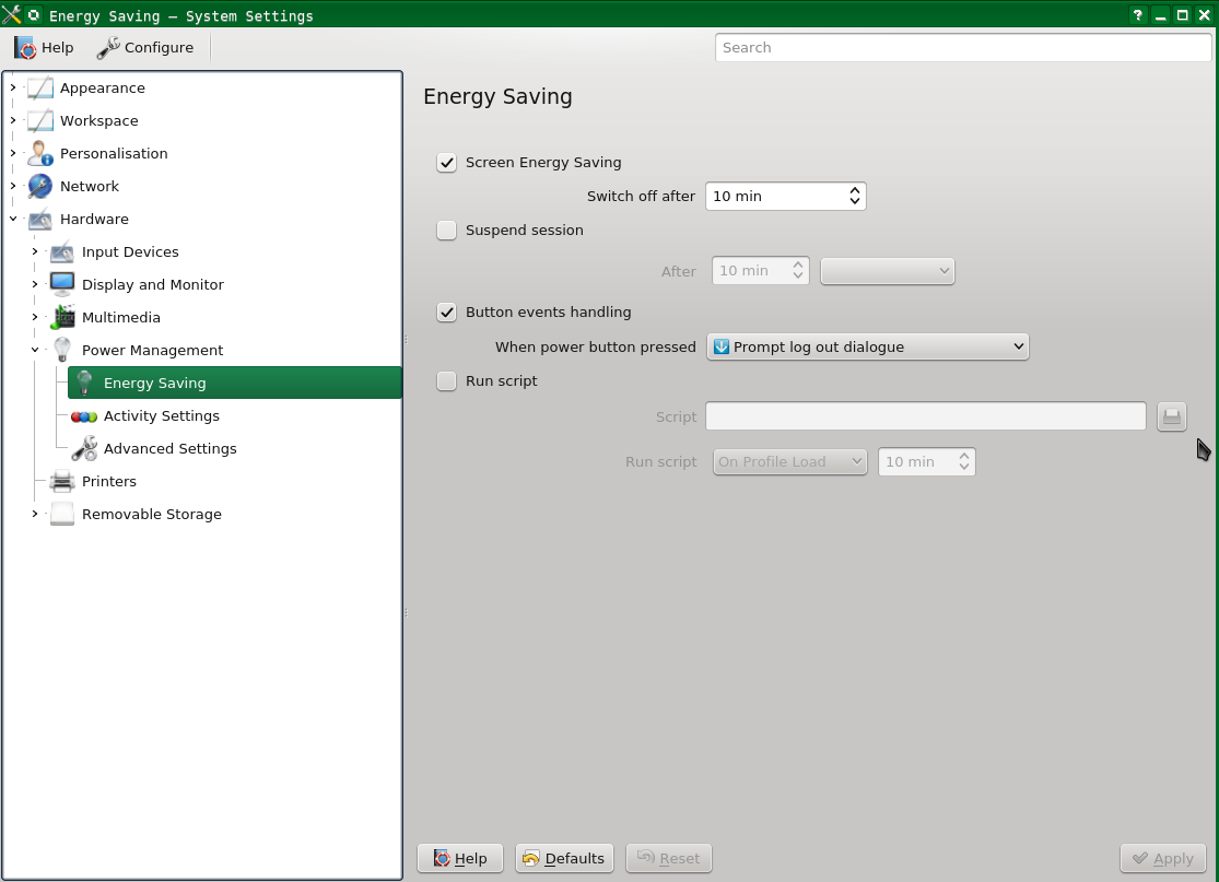 Screenshot showing System Settings, Energy Saving